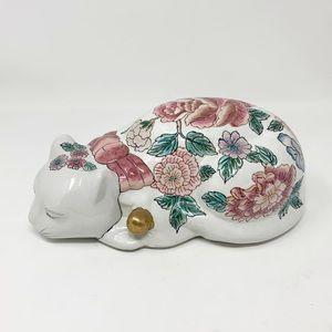 Vintage Andrea by Sadek floral ceramic cat